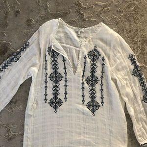 Joie gauze L white loose fitting shirt w tassels